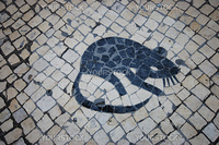 mosaic of a rat at the Largo do Rato, Lisbon