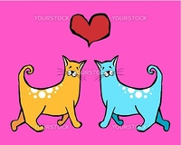 Couple of cats in love. Red heart above them on pink background