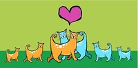 Couple of cats in love with their offspring. Pink heart above them on green background