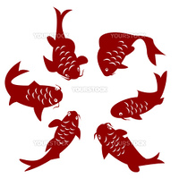Koi carp silhouettes over white background