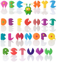 Colorful and funny plasticine letters with real reflections. Good for halloween usage. Plasticine monster with one eye. Isolated over white