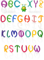 Alphabet in 3/4 view. Colorful hand made and upper case letters with real reflections. Isolated over white