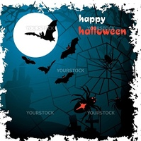 Halloween vector illustration scene with moon, spider, bat and tree.
