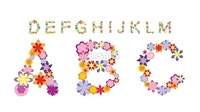 Alphabet made by color flowers