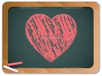 Vector - Blackboard with Heart  written with Chalk