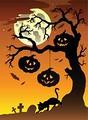 タイトル:Scene with Halloween tree 2 - vector illustration.