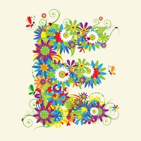 Letter E, floral design. See also letters in my gallery