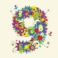 タイトル:Numbers, floral design. See also numbers in my gallery