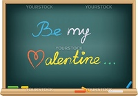 the message be my valentine on the school blackboard