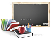 Classroom with Chalkboard Books Pens and Red Apple Illustration