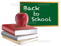 Classroom Back to School Chalkboard Books and Red Apple Illustration