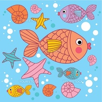 background with cartoons fish under the water