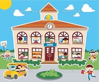 Time to go back school vector illustration background. Bus, children and school facade composition.