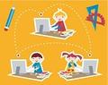 タイトル:Children learning and social school communication diagram. Internet as a learning tool.