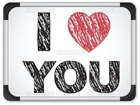 Vector - Whiteboard with I Love Heart You Message written with Chalk