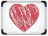 Vector - Whiteboard with Heart  written with Chalk