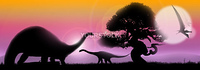 Pastel landscape at sunrise with tree silhouette and dinosaurs