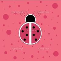 Cute pink ladybug ladybird