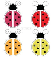 Cute colorful spring summer ladybugs ladybirds