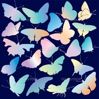 Collection Of Colored Butterflies, editable vector illustration