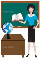 Vector illustration of a teacher in the classroom