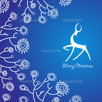 The traditional Christmas card. New Year's deer on a blue background with a frosty ornament.