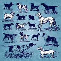 Set of antique dogs illustrations, scalable and editable vector