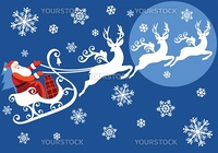 Santa riding on sleigh with reindeer, vector christmas background