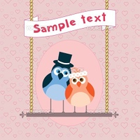 Cute bird in love.  Postcard, greeting card or invitation