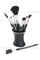 Various Cosmetic Brushes with Stand, Isolated on White