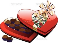 Vector Valentine Heart Box of Chocolate candy isolated.