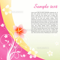 illustration of text template with sample text on floral background