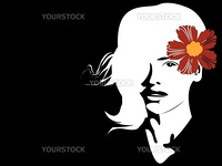 Portrait of a beautiful girl with flower, vector art