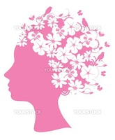 Vector illustration of a pink floral head