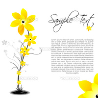 illustration of vector background with flowers and sample text