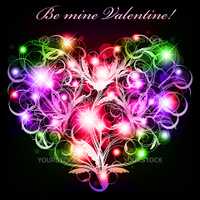 bright multicolored neon heart with floral elements