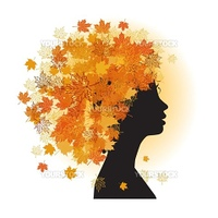 Stylized woman hairstyle. Autumn season.