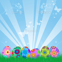 Easter Eggs Hunt with Colorful Floral Design Sky Rays Grass Illustration