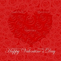 Happy Valentines Day Heart with Red Roses Illustration