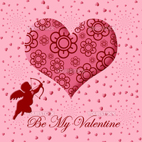 Valentine's Day Cupid with Bow and Arrow Floral Pink Heart