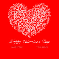 Happy Valentines Day Heart with Flower Circles Red