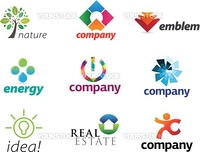 Nine pieces of colorful and modern emblems for your business