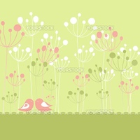 Springtime colorful birds green floral greeting card with copy space
