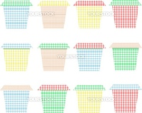 collection of flowerpots on vector white background