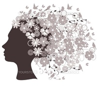 vector illustration of a floral head silhouette