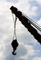construction industry crane heavy  cargo machinery on a blue background