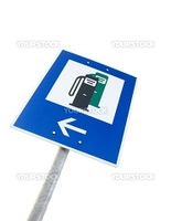 Nearby fuel station traffic sign isolated on white