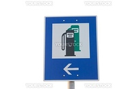 Fuel station traffic sign isolated on white