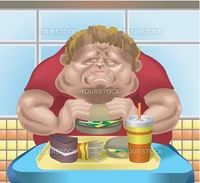An obese man in fast food restaurant consuming junk food. No meshes used.