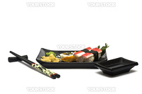 A set of sushi on a black plate with wasabi and gari, isolated on a white background, wish hashi ans soy sauce.
